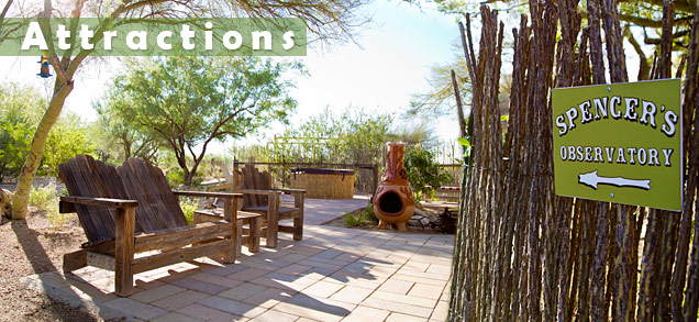 Spencer's Garden, chiminea, and hot tub at Cat Mountain Lodge B&B in Tucson, Arizona